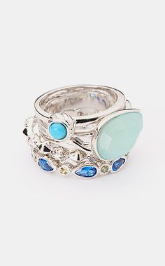 Rhodium & Turquoise Cubic Zirconia Stackable Ring Set