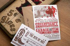 Carrie + Tim's BBQ Squaredance Wedding Invitation   Noteworthy Paper & Press