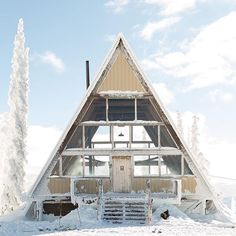 Are A-frame Cabin Kits Worth it? A Frame Cabin, A Frame House, Cabin Kits, Cabin Ideas, Winter Cabin, Snow Cabin, New Property, Roof Design, Modular Homes