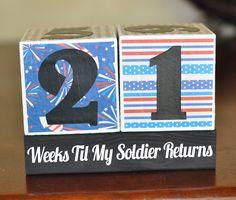Deployment Countdown Blocks for soldier. $31.00, via Etsy.