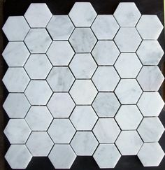 """White Carrara 2"""" x 2"""" Honed Finish Hexagon Marble Mosaic Tile. Now to figure out if we go with white or gray grout."""