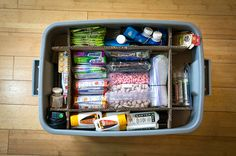 Get organized for the road; use cardboard to layer & make sections