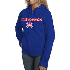 Chicago Cubs Ladies Royal Full-Zip Hooded Sweatshirt by Soft as a Grape (4.13.12) $59.95