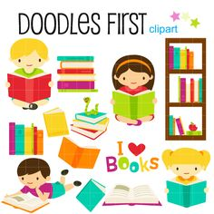 Book Club Digital Clip Art for Scrapbooking Card Making Cupcake Toppers Paper Crafts by DoodlesFirst on Etsy https://www.etsy.com/uk/listing/183097137/book-club-digital-clip-art-for