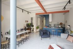 Font 6 Apartment: Colorful Remodel of A Compact Apartment with Modern Eclectic Interior Grey Floor Tiles, Grey Flooring, Cozy Living, Living Area, Slow Living, Living Room, Apartment Living, Patio Interior, Interior Design