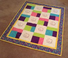 Elephant Quilt by mommomsquilts on Etsy