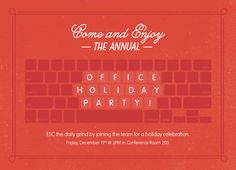 Festive Affair Holiday Party Invitations Challenge: Down to Business Award for… Office Holiday Party, Office Parties, Holiday Parties, Corporate Invitation, Invitation Design, Corporate Holiday Cards, Holiday Party Invitations, Corporate Business, Creative Business