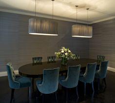 Albyns, Private Residence. Bespoke lozenge shaped pendant lights.