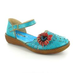Yoma C4681-5   Nina Womens Leather Low Wedge Closed Toe Ankle Strap Sandals - Blue
