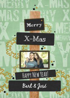 Stoere trendy kerstkaart met een paal en grijze vlakjes voor een eigen tekst en foto, verkrijgbaar bij #kaartje2go voor €1,89