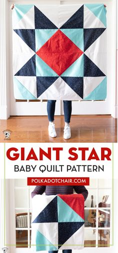 Learn how to make a simple baby quilt with this Giant Star baby quilt pattern and tutorial. A modern baby quilt pattern great for beginners. Free Baby Quilt Patterns, Baby Quilt Tutorials, Star Quilt Patterns, Modern Quilt Patterns, Baby Pattern, Owl Patterns, Quilt Modern, Skirt Patterns, Dress Tutorials