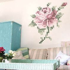 Cross stitch wall art (via shabby roses cottage)