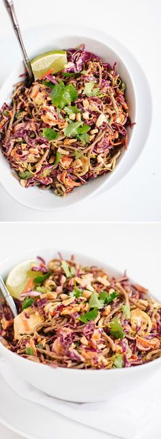 Everyone loves this healthy Asian slaw made with cabbage, carrots and soba noodles, tossed in a bold peanut-sesame sauce.