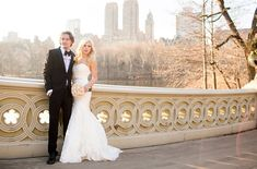 bride and groom on Bow Bridge in Central Park, New York