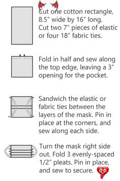 How to Sew a DIY Fabric Face Mask - Free Printable Pattern <br> Free pattern to sew pleated surgical fabric face masks for hospitals or your own use. Make at home with elastic or fabric ties. Option for filter pocket.