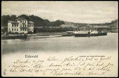 EIDSVOLD Eidsvoll i Akershus fylke med hjulbåt på Vorma ved hotellet. Utg P. Alstrup tidlig 1900-tall