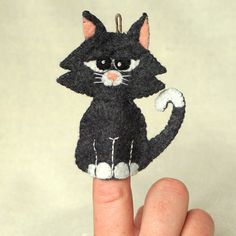 Felt Cat Finger Puppet, Wool Felt Black Cat Ornament, Felt Handmade Collectible…