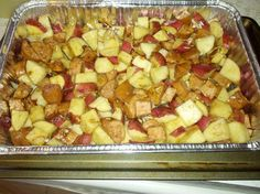Potatoes, Kielbasa, French Onion Soup Mix, and a little water/oil/butter! 1 hour! Yummy!