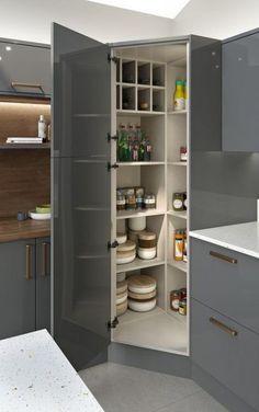 Kitchen Corner Storage Cabinet Cupboards 69 Ideas For 2019 Modern Kitchen Cabinets, Kitchen Cabinet Design, Kitchen Layout, Kitchen Interior, Kitchen Ideas, Pantry Ideas, Kitchen Modern, Modern Kitchens, Kitchen Small