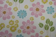 Pink Blue and Yellow Flowers Vintage Wallpaper