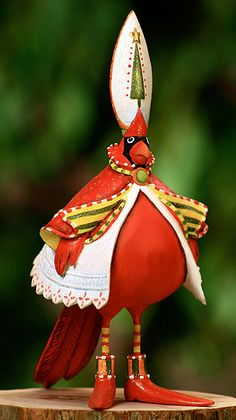 I adore Patience Brewster and her delightful creations . a Christmas Cardinal!Krinkles by Patience Brewster - Cardinal Ornament All Things Christmas, Christmas Time, Christmas Crafts, Christmas Decorations, Christmas Ornaments, Merry Christmas, Whimsical Christmas, Galo, Bird Ornaments
