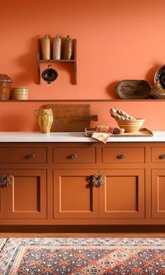 Find your favourite orange paint shade from our collection. From peach tones to darker terracotta, orange has a broad appeal suitable for most rooms in your home. Orange Kitchen Cupboards, Burnt Orange Kitchen, Orange Cabinets, Orange Kitchen Paint, Burnt Orange Paint, Paint For Kitchen Walls, Kitchen Cabinet Colors, Painting Kitchen Cabinets, Kitchen Colors