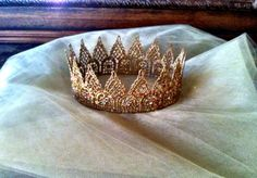 Adult size 19 glittery gold lace princess/prince crown embellished with genuine Swarovski crystals. Each crown is made to order and custom options Royal Crowns, Tiaras And Crowns, Queen Crown, Circlet, Crown Jewels, Gold Crown, Bridal Crown, Gold Lace, Swarovski Crystals