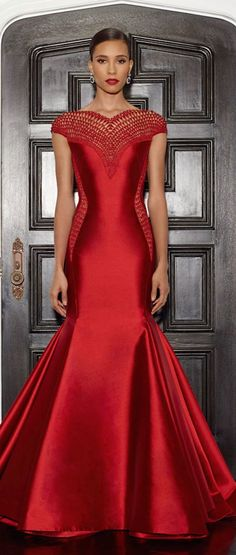 Lorena Sarbu Fall 2014 Collection - red fishtail gown with detailed embroidery on neckline jaglady