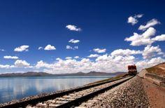 Train running on the Qinghai-Tibet railway.