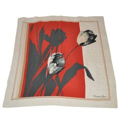 """Christian Dior """"Tulip"""" Floral Silk Scarf 