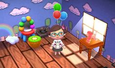 Animal Crossing: New Leaf Diary, Day 5: The balloon dog lamp is from the balloon presents, it's really cute. I got fortune #1 today which comes with the mushroom wallpaper. Mario-tastic!