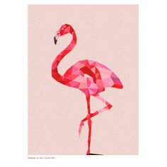 If we need to make the nursery feminine, this is a MUST! Geometric flamingo art print - hardtofind.