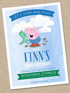 George Pig Birthday Invitation 5x7 Printable by thelilredwagon