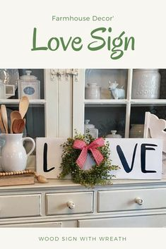 Love Sign with Wreath Love Sign Wreath Sign Farmhouse Sign Handmade Sign with Wreath Farmhouse Decor White Black Baby Grass Wreath #affiliate #farmhousedecor
