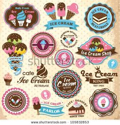 Collection of vintage retro ice cream labels, badges and icons by Catherinecml, via Shutterstock Vintage Labels, Retro Vintage, Pink Lady, Cafeteria Retro, Ice Cream Logo, Ice Cream Design, Hand Lettering Styles, Vintage Ice Cream, Ice King