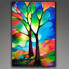 Abstrait arbre imprimé. La giclée est une impression sur toile, fabriqué à partir de ma belle peinture « deux arbres ». Deux amis se tiennent dans un univers arc en ciel au coucher du soleil. 24 x 36 pouces. Imprimé avec les plus hautes qualité, riche et vif d'archives des encres pigmentaires sur une toile poly-coton épais. L'image est miroir enveloppé autour de 1,5 barres de civière en bois profond séché et agrafées à l'arrière. La toile est vernie avec un vernis brillant pour rehausser…