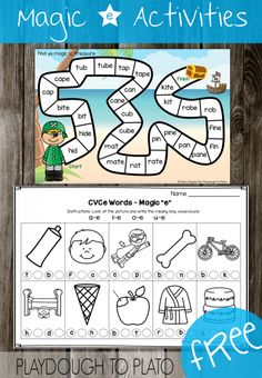 Free Magic e Activities! Fun ways to teach CVCe words. These would be great to use as literacy centers or guided reading activities in kindergarten and first grade. Guided Reading Activities, Teaching Reading, Reading Lessons, Math Lessons, Teaching Phonics, Kindergarten Literacy, Phonics For Kids, Phonics Games, Speech Therapy