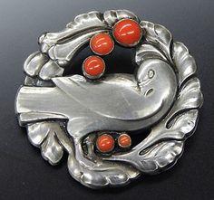 Georg Jensen Sterling Silver Coral Dove Bird Brooch Pin 123 | eBay