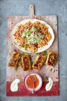 Crackin' crab bricks with couscous salad & salsa | Jamie Oliver | Food | Jamie Oliver (UK) - http://www.jamieoliver.com/recipes/seafood-recipes/crackin-crab-briks-with-couscous-salad-salsa