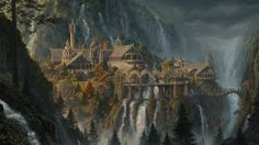 General 1920x1080 fantasy art waterfall Rivendell The Lord of the Rings The Lord of the Rings: The Fellowship of the Ring