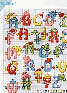 Alphabet with scarves and hats - free cross stitch patterns crochet knitting amigurumi Christmas Cross Stitch Alphabet, Xmas Cross Stitch, Cross Stitch Letters, Cross Stitch Love, Modern Cross Stitch, Cross Stitch Charts, Cross Stitch Designs, Cross Stitching, Stitch Patterns