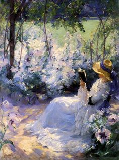 Frank Bramley (English post-impressionist genre painter of the Newlyn School) 1857 - 1915 Delicious Solitude 1909 oil on canvas 122 x 91 cm. Aesthetic Painting, Aesthetic Art, Wallpaper Angel, Bel Art, Art Couple, Renaissance Kunst, Books To Read For Women, Woman Reading, Woman Painting