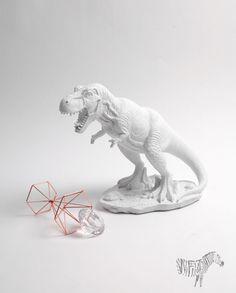 White Faux Table Top T-Rex Figurine Sculpture | White Faux Taxidermy
