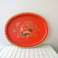 Vintage Serving Tray  Salmon Color  Metal  by ThreeTangerines, $16.00