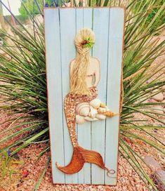 Mermaid Wood Art Mixed Media Mermaid Coastal Decor Beach Bathroom Beach Wall Art Mermaid Painting  Mosaic Beach Decor 11X28 inches Mermaid Crafts, Seashell Crafts, Beach Crafts, Mermaid Art, Mermaid Paintings, Mermaid Sign, Mermaid Scales, Plage Art Mural, Art Plage
