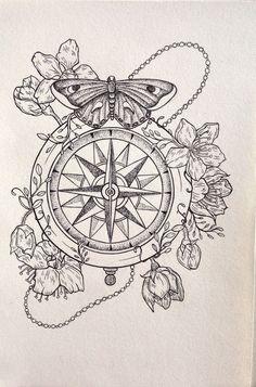 57 Ideas For Tattoo Compass Color Tatoo Mandala Compass Tattoo, Dotwork Tattoo Mandala, Compass Art, Compass Tattoo Design, Compass Drawing, Anchor Compass Tattoo, Hand Tattoo, 1 Tattoo, Tattoo Fonts