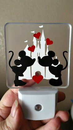 So in Love Minnie & Mickey Night Light House Warming Gift from my hubby and I for our daughter's new Disney Diy, Casa Disney, Disney Rooms, Disney Home Decor, Disney Crafts, Disney House, Mickey Mouse Bathroom, Mickey Mouse Nursery, Mickey Mouse House