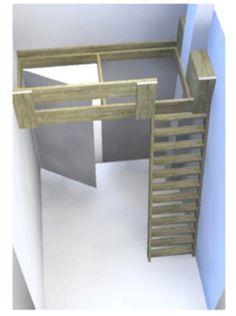 Clever idea for a narrow bedroom Small Room Bedroom, Small Rooms, Kids Bedroom, Small Spaces, Narrow Bedroom, Bunk Beds With Stairs, Kids Bunk Beds, Loft Room, Bedroom Loft