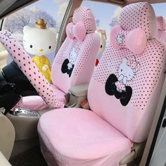 Hello Kitty Pink 18pcs Winter Women Warm Car Five Seat Covers Steering Wheel Cover Read More Reviews Of The Product By Visiting Link On