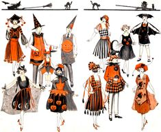 Art Deco Flappers In Halloween Costumes Great Printable Images For Journals. Retro Halloween, Costume Halloween, Halloween Costume Patterns, Vintage Halloween Decorations, Halloween Crafts, Halloween Office, Halloween Photos, Halloween Recipe, Outdoor Decorations